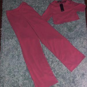 Fuchsia Flock Crop Top & Trousers Set